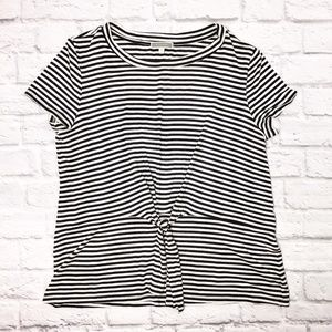 Black and White Striped Top with Front Tie